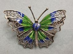 Vintage Silver Filigree and Enamel Butterfly Pin by COBAYLEY, $40.00