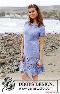 Платье, вяжется сверху вниз, регланом, с ажурным узором и короткими рукавами, Размер(ы): S - M - L - XL - XXL - XXXL