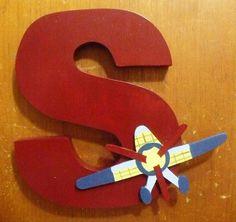 Wood Letters Nursery baby boy airplane handmade wooden. $16.00, via Etsy.