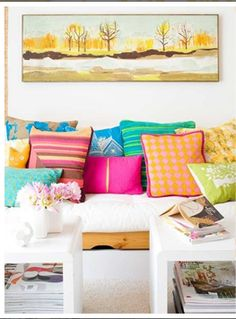Love the colourful pillows! From Decor8