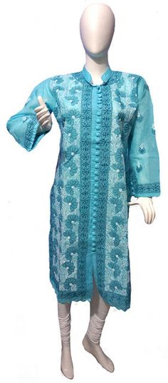 Self Design Lucknowi Chikan Kurti List price: Rs1899   Rs1099 You save: Rs800 (42%)   Specifications . Fabric: 100% Cotton . Self Design Chikankari . Sleeves : Full . Color: Sky Blue