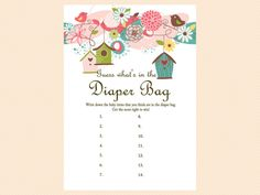 what's in the diaper bag, Baby Shower Games Printable Game Pack, Bird Baby Shower Games Printable, Neutral, Floral, whimsical Baby Shower Games Download