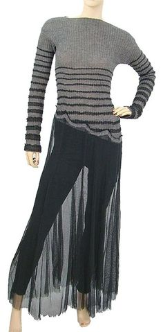Black and Grey Maxi Dress by Jean-Paul Gaultier Striped Bold Stripe A-line - Grey alpaca knit with black tulle signature stripe applique. Black cotton and lycra tulle skirt with frayed hem. Boat style neckline. Extra long sleeves. Slip-on style.