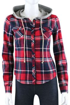 Hoodie plaid shirts. in Outerwear