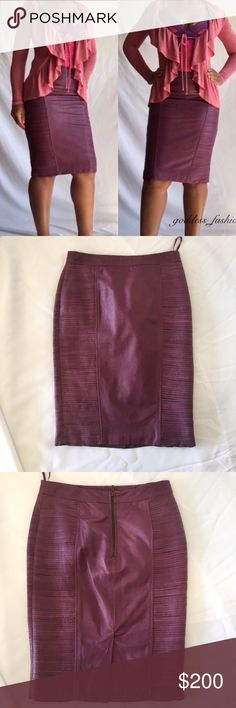 NWOT Purple Leather Skirt Purple Leather Skirt This gorgeous purple 100% Leather skirt is very unique and is one of a kind . It's warehouse limited editions . Brand new with out tags size U.S 6 U.K 10 Skirts