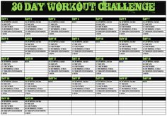 30 Day Workout Challenge that I put together for myself.  I thought I should share.  I know it will be a long 30 days, but it will get the major muscle groups on the right track!