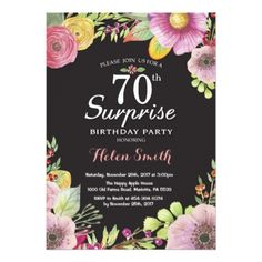 Surprise Floral 70th Birthday Invitation for Women - invitations custom unique diy personalize occasions