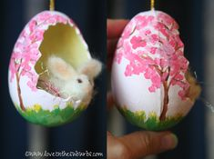 Isn't this the sweetest eggshell diorama ornament? You can make this little egg bunny craft an Easter gift for family and friends! Egg Crafts, Bunny Crafts, Easter Crafts, Holiday Crafts, Holiday Decor, Sugar Eggs For Easter, Easter Eggs, Bird Nest Craft, Incredible Eggs
