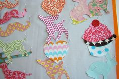 fun appliques for tea towels