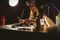 Katie Innamorato of Afterlife Anatomy demonstrating squirrel taxidermy.