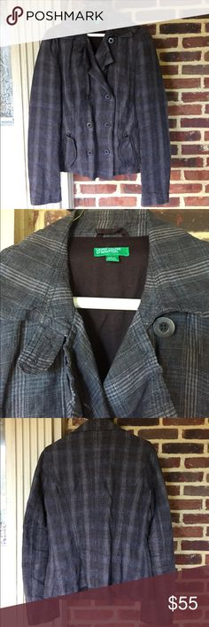 United Colors of Benetton Plaid Jacket- Mint Cond Nice lightweight Plaid jacket featuring a double breasted style and zippered pockets with fabric cover. Mint Condition. United Colors Of Benetton Jackets & Coats