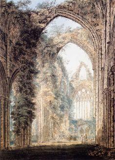 Interior of Tintern Abbey looking toward the West Window by Thomas Girtin, 1802