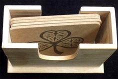 Irish Celtic Cover Ireland NEW Wood VARNISHED 4 Coaster Set Holder Gift COA-0005