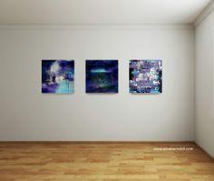 """Trittico """"Purple Light"""" acrilico su tela 40x40 cm cad. (disponibili anche separatamente) www.facebook.com/ArtAlibi"""