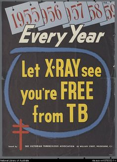 "Fight Tuberculosis. ""Let X-Ray See You're Free from TB"""