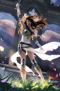 Beautiful female warrior/valkyrie character design.