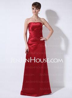 Bridesmaid Dresses - $97.99 - Sheath Strapless Floor-Length Satin Bridesmaid Dresses With Ruffle (007001865) http://jenjenhouse.com/Sheath-Strapless-Floor-length-Satin-Bridesmaid-Dresses-With-Ruffle-007001865-g1865
