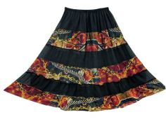 Womens Gypsy Skirt Black Red Printed Georgette Patchwork Boho Tiered Skirts Mogul Interior,http://www.amazon.com/dp/B00ITMYR3C/ref=cm_sw_r_pi_dp_rZxltb1AF6ZGBNNA