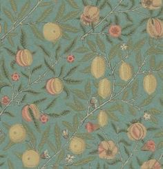 Morris and Co Fruit 210396 wallpaper from the Archive Wallpapers collection, priced per roll. Previously known as Pomegranate, this design shows peaches, oranges, lemons and pomegranates arranged in a tile format