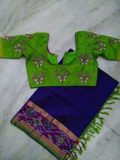Pattu Saree Blouse Designs, Designer Blouse Patterns, Fancy Blouse Designs, Blouse Neck Designs, Salwar Designs, Mirror Work Blouse Design, Maggam Work Designs, Jamdani Saree, Silk Sarees