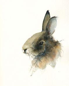 Rabbit - easter art, Archival Print, rabbit art, nature, watercolor. $20.00, via Etsy.