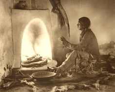 """""""Home from the hunt"""". Taos Pueblo, New Mexico. Early 1900s. Photo by Carl Moon/Fred Harvey."""