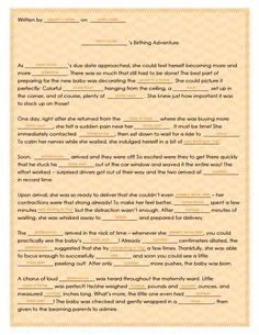 Hahaha! Takes me back to my childhood! what a fun keepsake :)  Free Printable: Baby Shower Mad Lib!