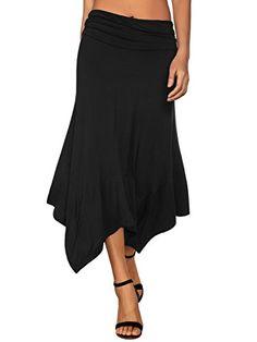 6fc04b868 DJT Women's Flowy Handkerchief Hemline Midi Skirt at Amazon Women's  Clothing store: