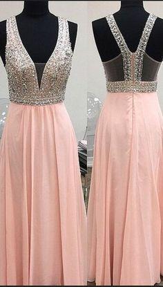 Spakrly Prom Dresses,Chiffon Prom Dresses, Beautiful Pink Long Prom Dresses,Simple Deep V-neck Beaded Evening Dresses For Teens,Modest Prom Dresses