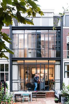 Completed in 2015 in Utrecht, The Netherlands. Images by Suzanne Paap . Dutch design studio Lab-S has renovated a row house in the city of Utrecht (the Netherlands) and added a contemporary two story extension in. Beautiful Architecture, Architecture Design, Renovation Facade, Building Renovation, Small House Renovation, Row House Design, Dutch House, Narrow House, House Extensions