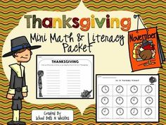 $2.00 Thanksgiving mini math and literacy pack. Ideal for the week before break. Ideal for 1st or 2nd grade depending on student levels.