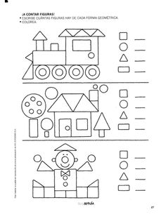 Preschool Shapes Worksheets for January. Shapes Worksheets, Kids Math Worksheets, Preschool Learning Activities, Kindergarten Activities, Preschool Activities, Kids Learning, Preschool Shapes, Teaching Shapes, Math For Kids