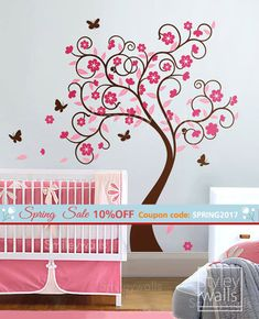 This Curly Flower Tree decal comes with 5 butterflies, flowers and leaves. The tree measures 57 wide by 76 high. The whole visual measures 80 wide by 76 high. The tree will come in seperate pieces for easy installation. You will receive the flowers and leaves separately, you can arrange