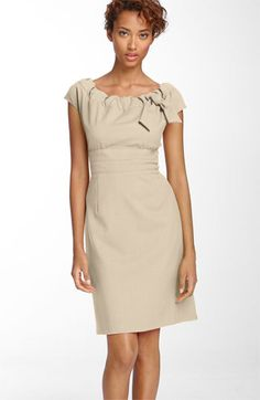 Donna Ricco Gathered Neckline Twill Dress available at #Nordstrom - cute dress and versital