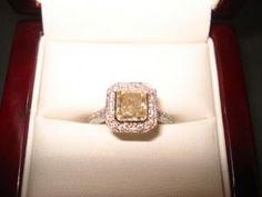 two tone Radiant Diamond engagement ring containing Radiant Engagement Rings, Bling Bling, Give It To Me, Wedding Inspiration, Crystals, Phone, Jewelry, Telephone, Jewlery