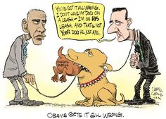 Daryl Cagle - CagleCartoons.com - Obama Putin Assad and Doggies 10/13/15