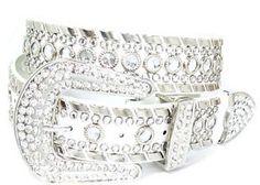 Bling Bling Cowgirl Belts   Bling Western Stud Rhinestone White Leather Belt Sz S   eBay