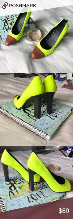 See by Chloe neon highlighter green leather pumps in great used condition | has a few scruffs on inner outside, no damages | See By Chloe Shoes Heels
