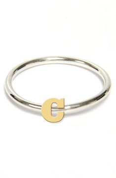 Jane Basch Designs Two-Tone Initial Ring Mother Rings, Two Tones, Precious Metals, Initials, Nordstrom, Bangles, Sterling Silver, Gold, Initial Rings