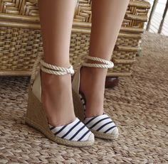 ideas for how to wear wedges booties style Women's Shoes, Shoes Heels Wedges, Lace Up Heels, Cute Shoes, Wedge Heels, Shoe Boots, High Heels, Sandals, Mode Simple