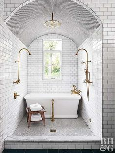 How to Bring a Historic Home into This Century THIS will be your new favorite kitchen.ty … Bathroom Design Ideas A room that mirrors your wisdom. 25 Exciting Bathroom Decor Ideas to Take Yours fro. Dream Bathrooms, Beautiful Bathrooms, Small Bathroom, Master Bathroom, Bathroom Ideas, Wet Room Bathroom, Bathrooms Online, Compact Bathroom, Dark Bathrooms