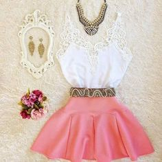 Casual Skirt Outfits, New Outfits, Cute Outfits, Look Fashion, Womens Fashion, Trendy Kids, Casual Looks, Two Piece Skirt Set, Fancy
