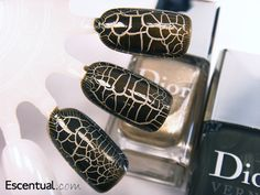 Dior Golden Jungle Crocodile Leather Effect Nails  148 Gold Base and 608 Top Coat