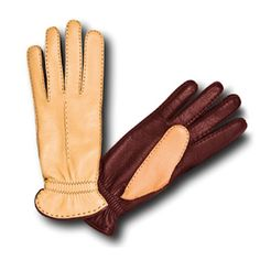 Pineider Women's Leather Gloves - Brown/Yellow Deerskin - elegant two tone with a cashmere lining