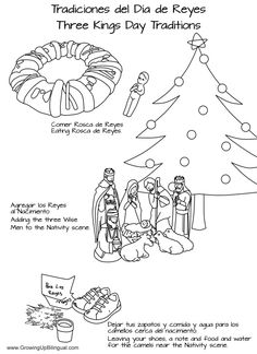 Bilingual coloring pages. Día de los Reyes : Three Kings Day Crafts and Activities For Kids
