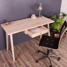 Skrivebord med en skuffe i massiv eg. Sheesham Wood Furniture, Drafting Desk, Baltimore, Office Desk, Furniture Design, Home Decor, Google, Photos, Image