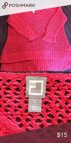 Pink loose knit sweater Cotton JCPenney loose knit sweater. Never worn JCP Sweaters Crew & Scoop Necks