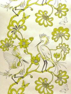 Greeny yellow egrets print - florence broadhurst.jpg