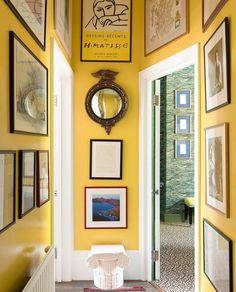 All Posts • Instagram Yellow Hallway, Yellow Walls Living Room, Yellow Wall Decor, Bedroom Yellow, Grey Walls, Hallway Art, Tiled Hallway, Hallway Ideas Entrance Narrow, Modern Hallway