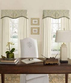 family room windows (in celadon colorway) Antiqued Watercolor Scalloped Valance with Trim - Country Curtains® Window Treatments Living Room, Living Room Windows, Home Curtains, Country Curtains, Curtain Pelmet, Scarf Valance, Curtain Rods, Kitchen Window Valances, French Country Bedrooms